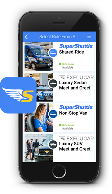 Use The SuperShuttle App To Book Either Shared Ride Van Service Or A Private Luxury ExecuCar Sedan From Home Office Hotel Pittsburgh